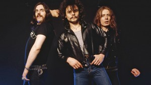UNSPECIFIED - JANUARY 01: Photo of MOTORHEAD and LEMMY and Phil TAYLOR and Eddie CLARKE; Posed studio group portrait L-R Lemmy, Phil Taylor and Eddie Clarke, (Photo by Fin Costello/Redferns)