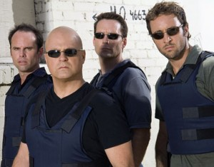 THE SHIELD: L-R: Walton Goggins, Michael Chiklis, David Rees Snell and Alex Laughlin. CR: Prashant Gupta / FX